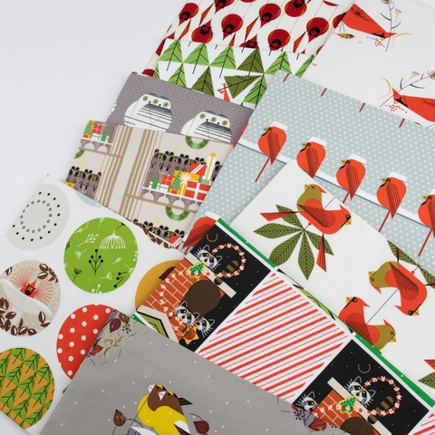 AVAILABLE FOR PREORDER, Charley Harper for Birch Organic Fabrics, Charley Harper Holiday, Berry Feast