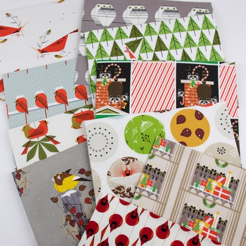 AVAILABLE FOR PREORDER, Charley Harper for Birch Organic Fabrics, Charley Harper Holiday, Cool Cardinals