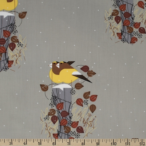 AVAILABLE FOR PREORDER, Charley Harper for Birch Organic Fabrics, Charley Harper Holiday, Evening Grosbeaks