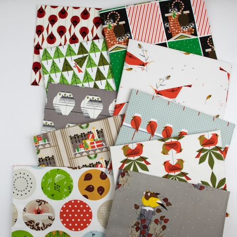 AVAILABLE FOR PREORDER, Charley Harper for Birch Organic Fabrics, Charley Harper Holiday in HALF YARDS 10 Total