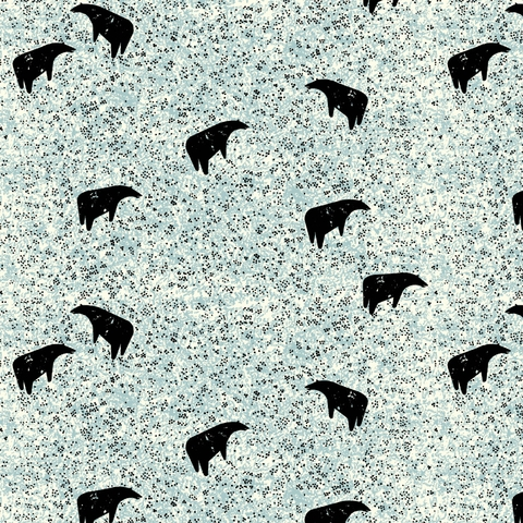 AVAILABLE FOR PREORDER, Charley Harper for Birch Organic Fabrics, New Frontier, Bear Grazing