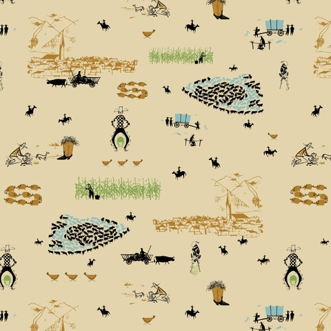 AVAILABLE FOR PREORDER, Charley Harper for Birch Organic Fabrics, New Frontier, Cowboy Pastoral