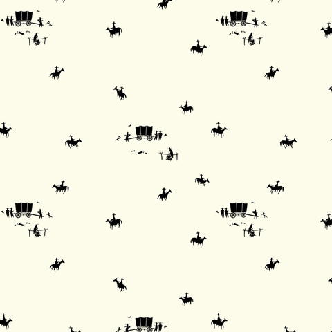 AVAILABLE FOR PREORDER, Charley Harper for Birch Organic Fabrics, New Frontier, Horse and Buggy Cream
