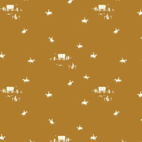 AVAILABLE FOR PREORDER, Charley Harper for Birch Organic Fabrics, New Frontier, Horse and Buggy Ochre