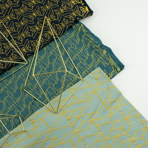 Jay-Cyn Designs for Birch Organic Fabrics, Geogami, JERSEY KNIT, Geo Giraffe Teal Metallic