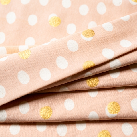 Jay-Cyn Designs for Birch Organic Fabrics, Tonoshi Knit, Mochi Dot Shell Metallic Gold