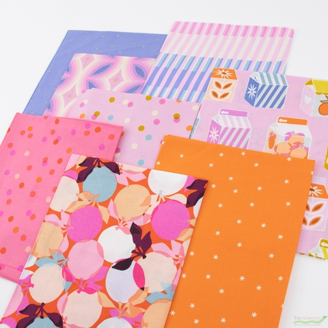 Melody Miller for Ruby Star Society, Clementine, Fruity Stripes Peony