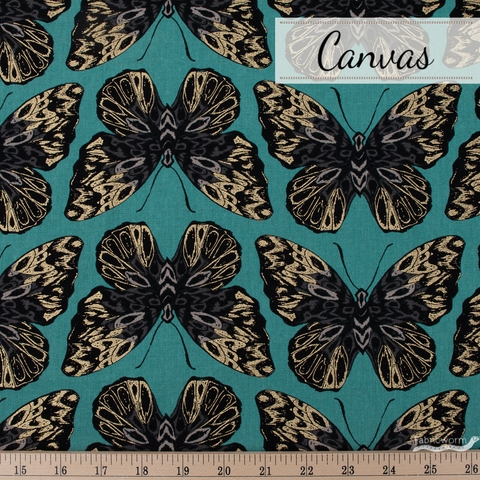 Sarah Watts for Ruby Star Society, Tiger Fly Canvas, Queen Metallic Aqua