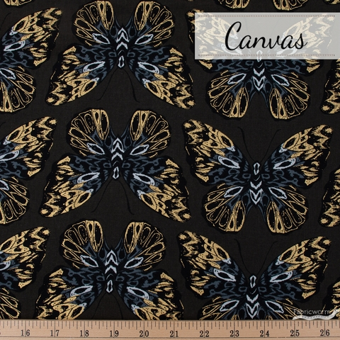 Sarah Watts for Ruby Star Society, Tiger Fly Canvas, Queen Metallic Noir