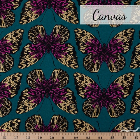 Sarah Watts for Ruby Star Society, Tiger Fly Canvas, Queen Metallic Teal