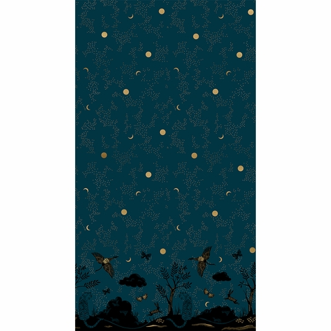 "Sarah Watts for Ruby Star Society, Tiger Fly, Chrysalis Metallic Dark Teal Border Print (24"" Panel)"
