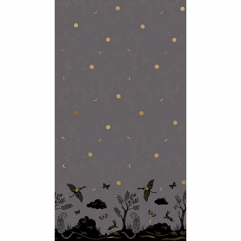 "Sarah Watts for Ruby Star Society, Tiger Fly, Chrysalis Metallic Slate Grey Border Print (24"" Panel)"
