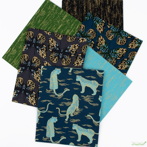 PREORDER NOW, Sarah Watts for Ruby Star Society, Tiger Fly, Dark Teal in FAT QUARTERS 6 Total
