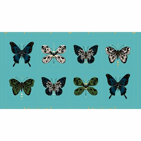 "Sarah Watts for Ruby Star Society, Tiger Fly, Gossamer Metallic Turquoise (23"" Panel)"