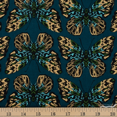 Sarah Watts for Ruby Star Society, Tiger Fly, Queen Metallic Dark Teal
