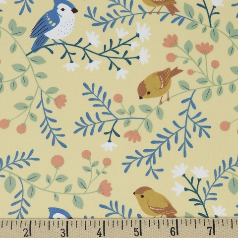 Teagan White for Birch Organic Fabrics, Best of Teagan White, Birds and Branches Cream