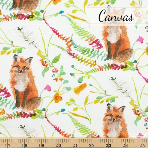Betsy Olmsted for Windham Fabrics, Fox Wood Canvas, Fox White