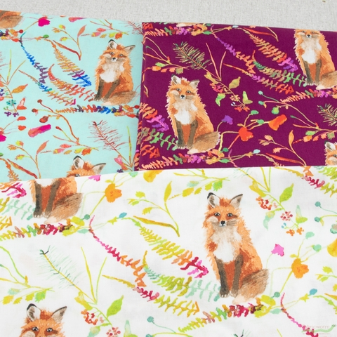Betsy Olmsted for Windham Fabrics, Fox Wood, Curious Fox Plum