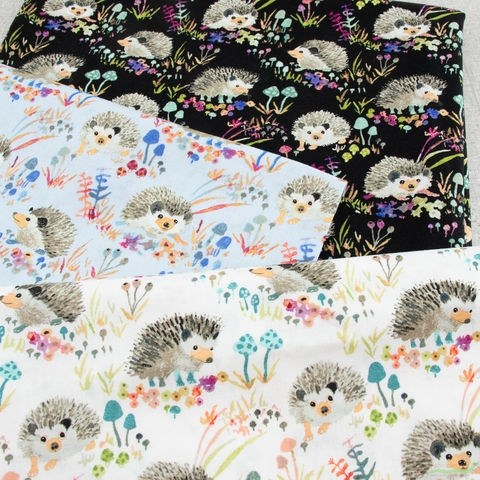 Betsy Olmsted for Windham Fabrics, Fox Wood, Hedgehogs Blue