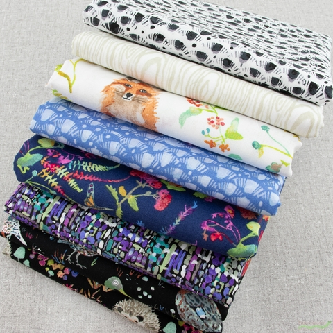 Betsy Olmsted for Windham Fabrics, Fox Wood, Leaf Blue