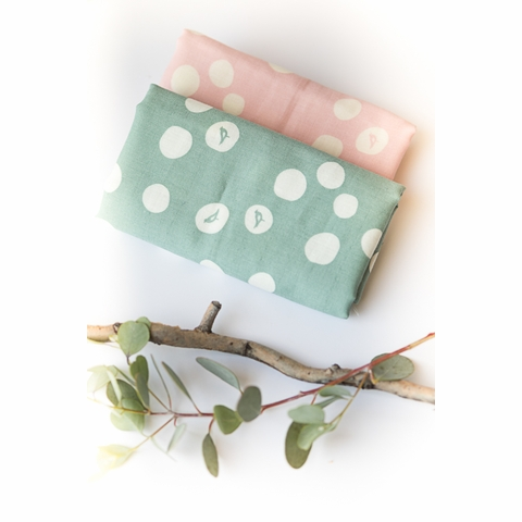 Birch Organic Fabrics, Birch Basics, DOUBLE GAUZE, Birch Dot Blush