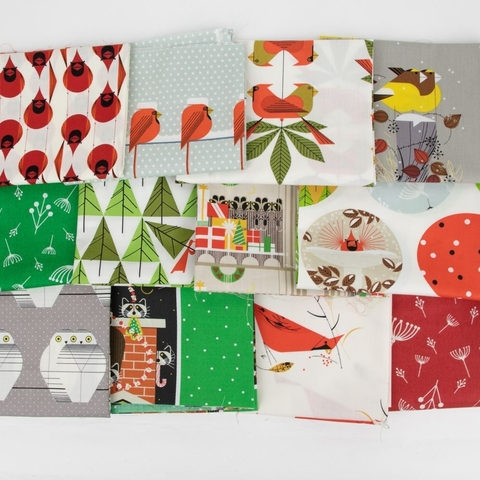 Birch Organic Fabrics, Charley Harper Holiday Solid Coordinates in FAT QUARTERS 7 Total