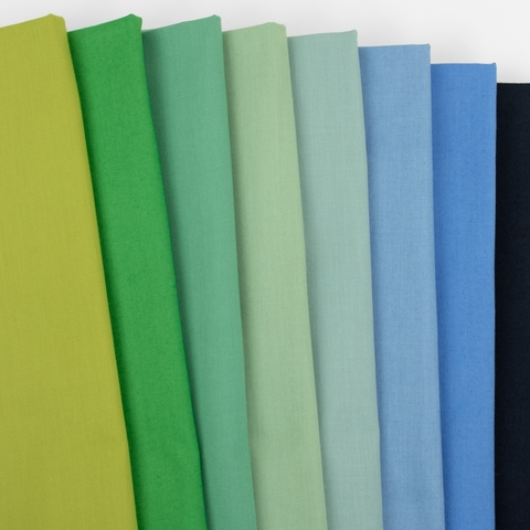 Birch Organic Fabrics, Mod Basics, Lagoon Solids in FAT QUARTERS 8 Total (PRECUT)