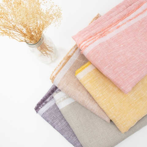 Birch Organic Fabrics, Yarn Dyed and Solid Linen, Dawn in HALF YARDS 5 Total