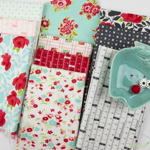 Bonnie & Camille for Moda, Little Snippets, Marmalade Floral Aqua