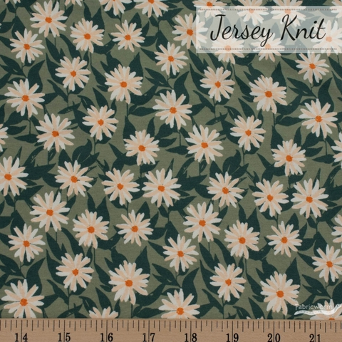 Bonnie Christine for Art Gallery, Her & History Jersey Knit, Mildred's Pressed Flowers