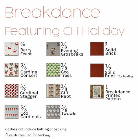 Breakdance Quilt Kit Featuring Birch Organic Charley Harper Holiday (PRECUT)