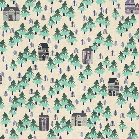 Callie and Co. for Cotton + Steel, Chill Out, Nature Walk Unbleached Aqua