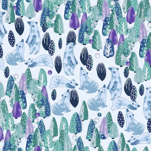 Callie and Co. for Cotton + Steel, Chill Out, Save The Polar Bears Forest Green