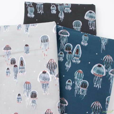 Callie and Co. for Cotton + Steel, Kaikoura, Drifting Jellies Ink Pearlescent
