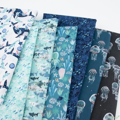 Callie and Co. for Cotton + Steel, Kaikoura, Drifting Jellies Ocean Pearlescent