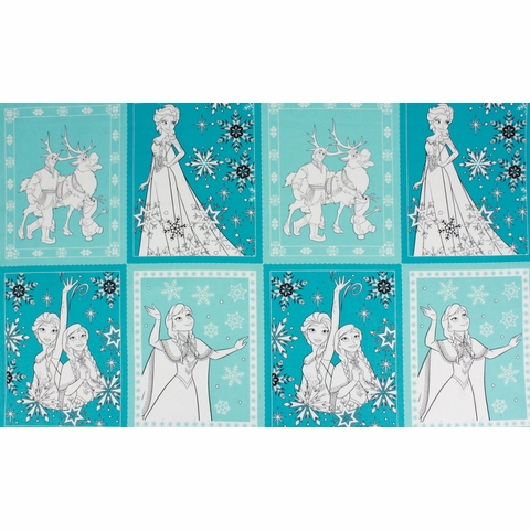 "Camelot Fabrics, Frozen, Book Pages Teal (23"" Panel)"
