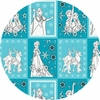 """Camelot Fabrics, Frozen, Book Pages Teal (23"""" Panel)"""