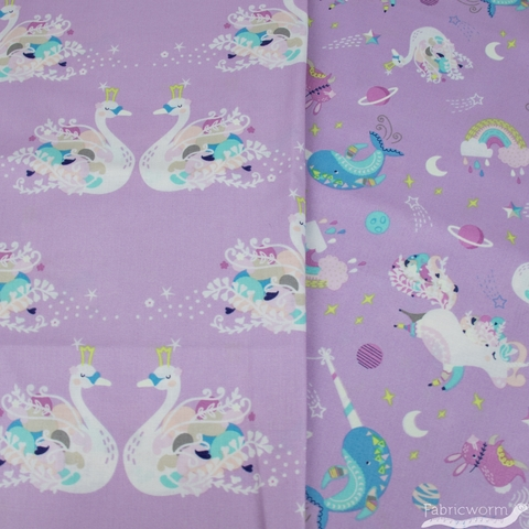 Camelot Fabrics, Out of This World GLOW in the Dark, Pas De Deux Purple
