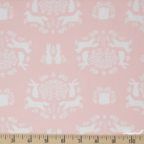 Camelot Fabrics, Pretty Little Woods, Friend Outlines Pink