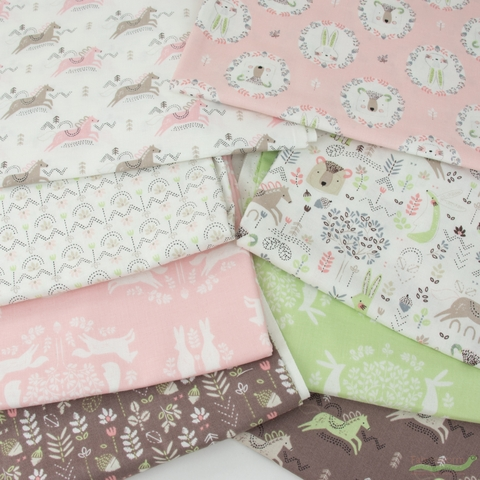 Camelot Fabrics, Pretty Little Woods, Geo Floral White