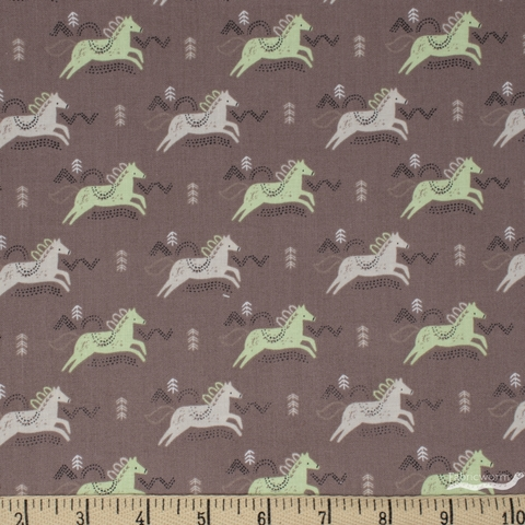 Camelot Fabrics, Pretty Little Woods, Jumping Horses Taupe