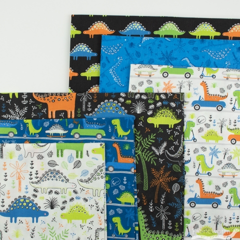 Camelot Fabrics, Roarsome, Dinosaurs Forest White
