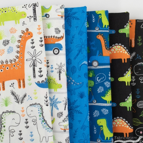 Camelot Fabrics, Roarsome, Dinosaurs on the Go Dark Blue