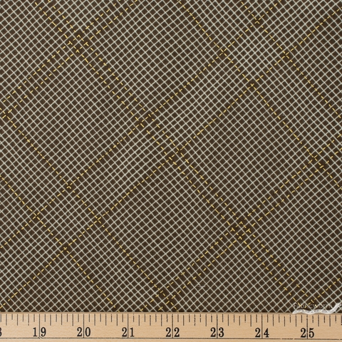 Carolyn Friedlander for Robert Kaufman, Collection CF, Diamond Grid Brown Metallic