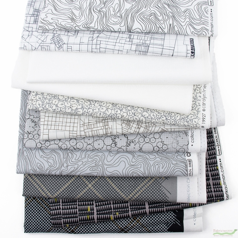 Carolyn Friedlander for Robert Kaufman, Collection CF, Shadows in FAT QUARTERS 11 Total (PRECUT)