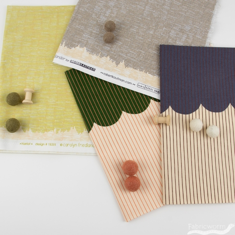 Carolyn Friedlander for Robert Kaufman, Harriot, Single Border Scallop Basil