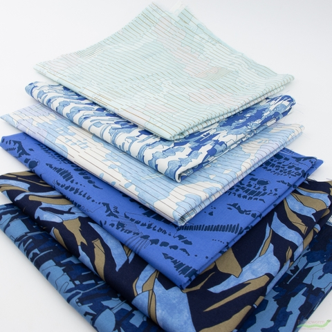Carolyn Friedlander for Robert Kaufman, Jetty, Shadows Blue in FAT QUARTERS 6 Total (PRECUT)