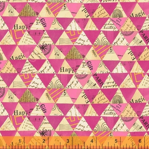 Carrie Bloomston for Windham, Wish, Collaged Triangles Hot Pink Metallic