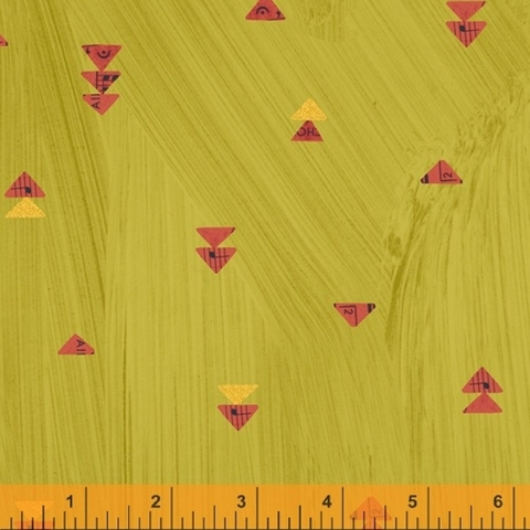 Carrie Bloomston for Windham, Wish, Floating Triangles Olive Oil Metallic