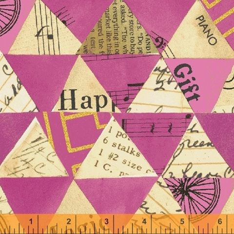 Carrie Bloomston for Windham, Wish Linen Cotton, Collaged Triangles Hot Pink